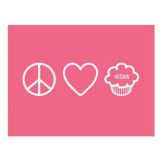 Paz, amor y magdalenas del vegano tarjetas postales
