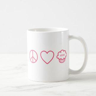 Paz, amor y magdalenas del vegano taza básica blanca