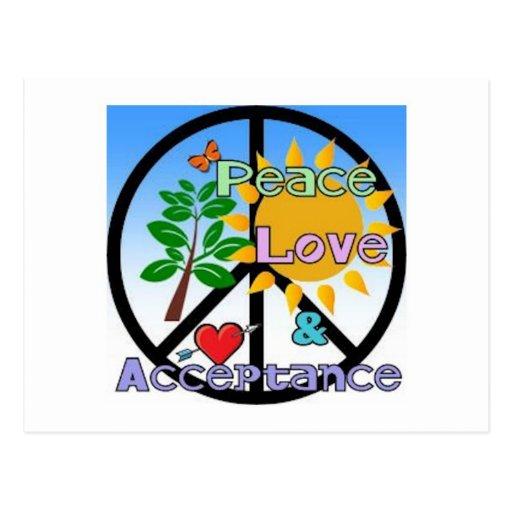 Paz, amor, y muestra de la Aceptación-Paz Tarjeta Postal