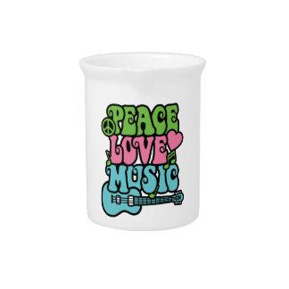 Paz amor y música jarra para bebida