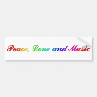 Paz, amor y música pegatina para auto