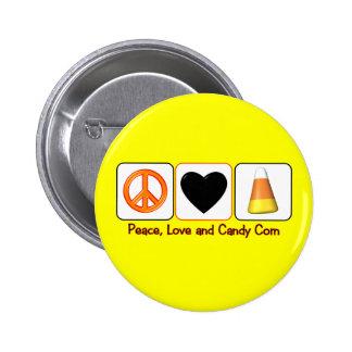 Paz, amor y pastillas de caramelo pin redondo de 2 pulgadas