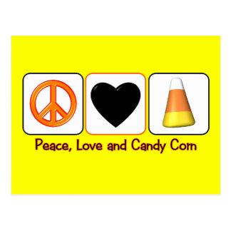 Paz, amor y pastillas de caramelo tarjeta postal
