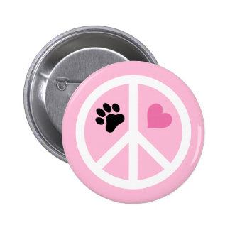 Paz, amor y patas pin redondo 5 cm
