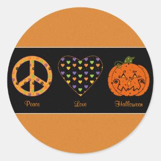 Paz, amor y pegatina de Halloween