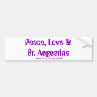 Paz, amor y pegatina para el parachoques de St Aug Pegatina Para Auto