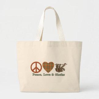Paz, amor y perezas bolsa tela grande