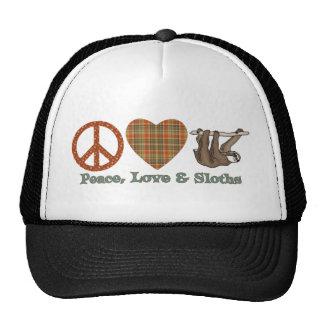 Paz, amor y perezas gorros bordados