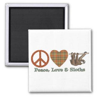Paz, amor y perezas imán cuadrado