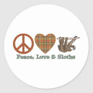 Paz, amor y perezas pegatina redonda