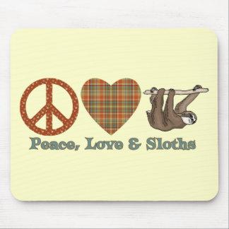 Paz, amor y perezas mousepads