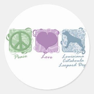 Paz amor y perros en colores pastel del leopardo etiqueta