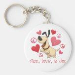 Paz, amor, y perros llaveros personalizados