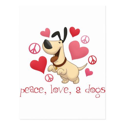 Paz, amor, y perros tarjeta postal