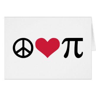 Paz, amor y pi tarjeta de felicitación