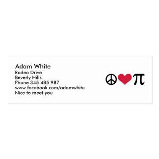 Paz amor y pi tarjeta personal