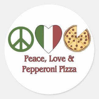Paz amor y pizza de salchichones etiqueta redonda