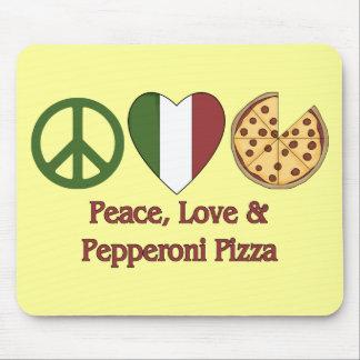 Paz, amor y pizza de salchichones alfombrilla de raton