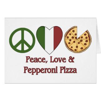 Paz, amor y pizza de salchichones tarjeta de felicitación