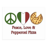 Paz, amor y pizza de salchichones tarjetas postales