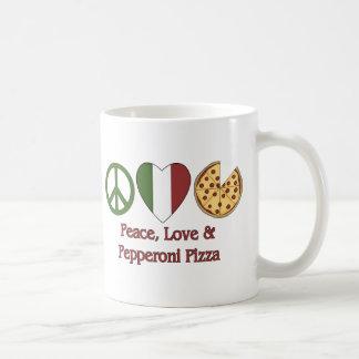 Paz, amor y pizza de salchichones taza básica blanca