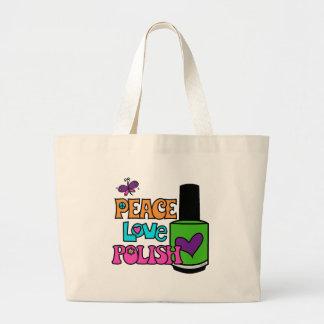 Paz, amor, y polaco bolsa tela grande
