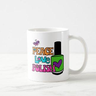 Paz, amor, y polaco taza de café
