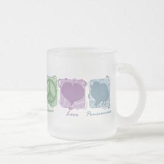 Paz, amor, y Pomeranians en colores pastel Taza De Cristal