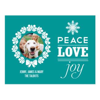Paz, amor, y postal de la foto del navidad de la a