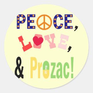 Paz, amor y Prozac Etiqueta Redonda