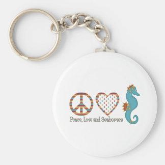 Paz, amor y Seahorses Llaveros