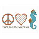Paz, amor y Seahorses Postal