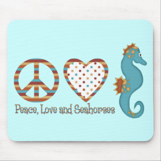 Paz, amor y Seahorses Tapetes De Raton
