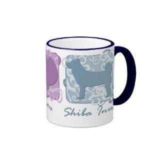 Paz, amor, y Shiba en colores pastel Inus Tazas De Café