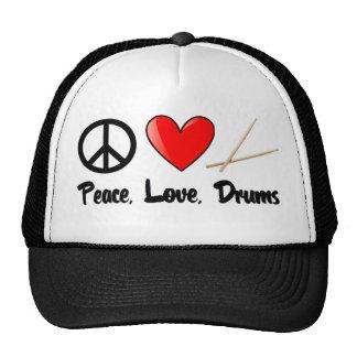Paz, amor, y tambores gorra