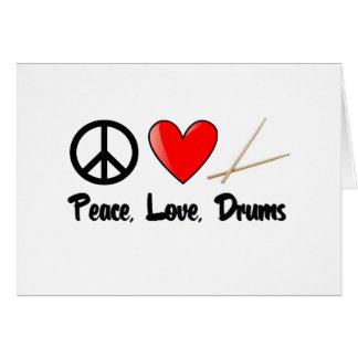 Paz, amor, y tambores felicitacion