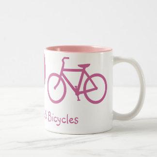 Paz amor y taza de las bicicletas