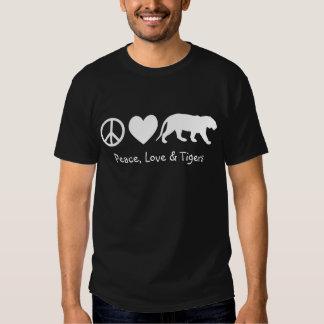 Paz, amor y tigres playera