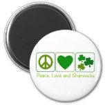 Paz, amor y tréboles imán para frigorifico