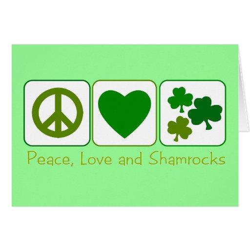 Paz, amor y tréboles tarjetón