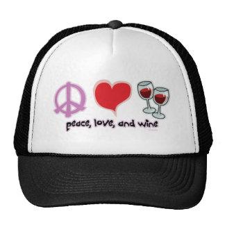 Paz, amor, y vino gorra