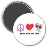 Paz, amor, y vino imán para frigorifico