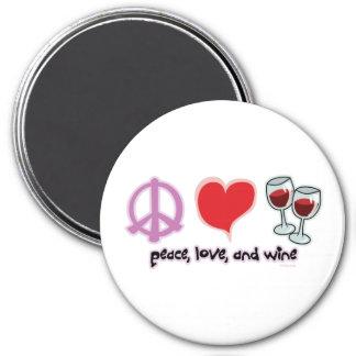 Paz, amor, y vino imán redondo 7 cm