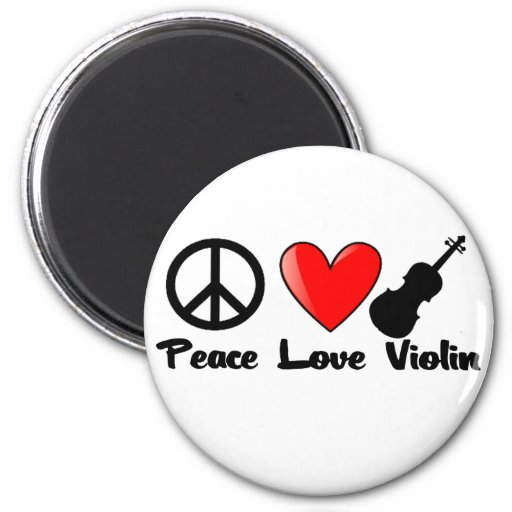 Paz, amor, y violín imán redondo 5 cm