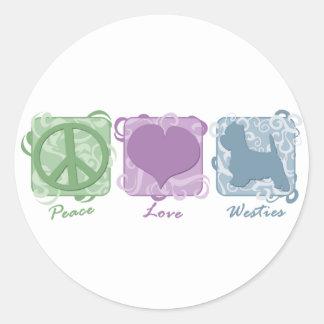 Paz, amor, y Westies en colores pastel Etiqueta Redonda