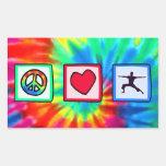 Paz, amor, yoga pegatina rectangular