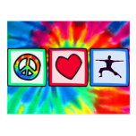 Paz, amor, yoga postal