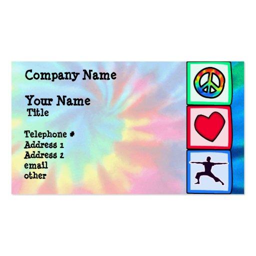 Paz, amor, yoga tarjetas de visita