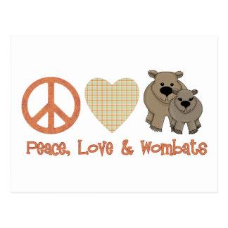 Paz, &amp del amor; Wombats Tarjetas Postales
