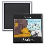 Paz apacible del león y del cordero iman para frigorífico